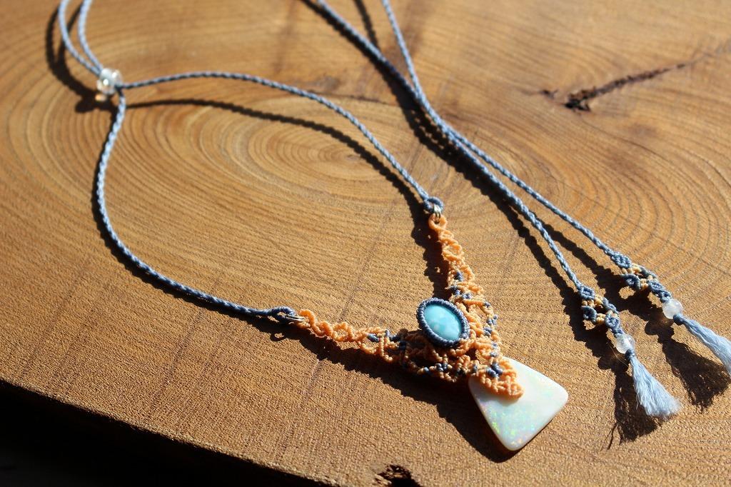 Opal Larimar micromacrame necklace