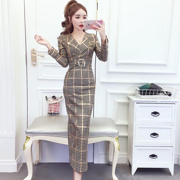 【dress】チェック柄着痩せ超人気ファッションデートワンピース25364916