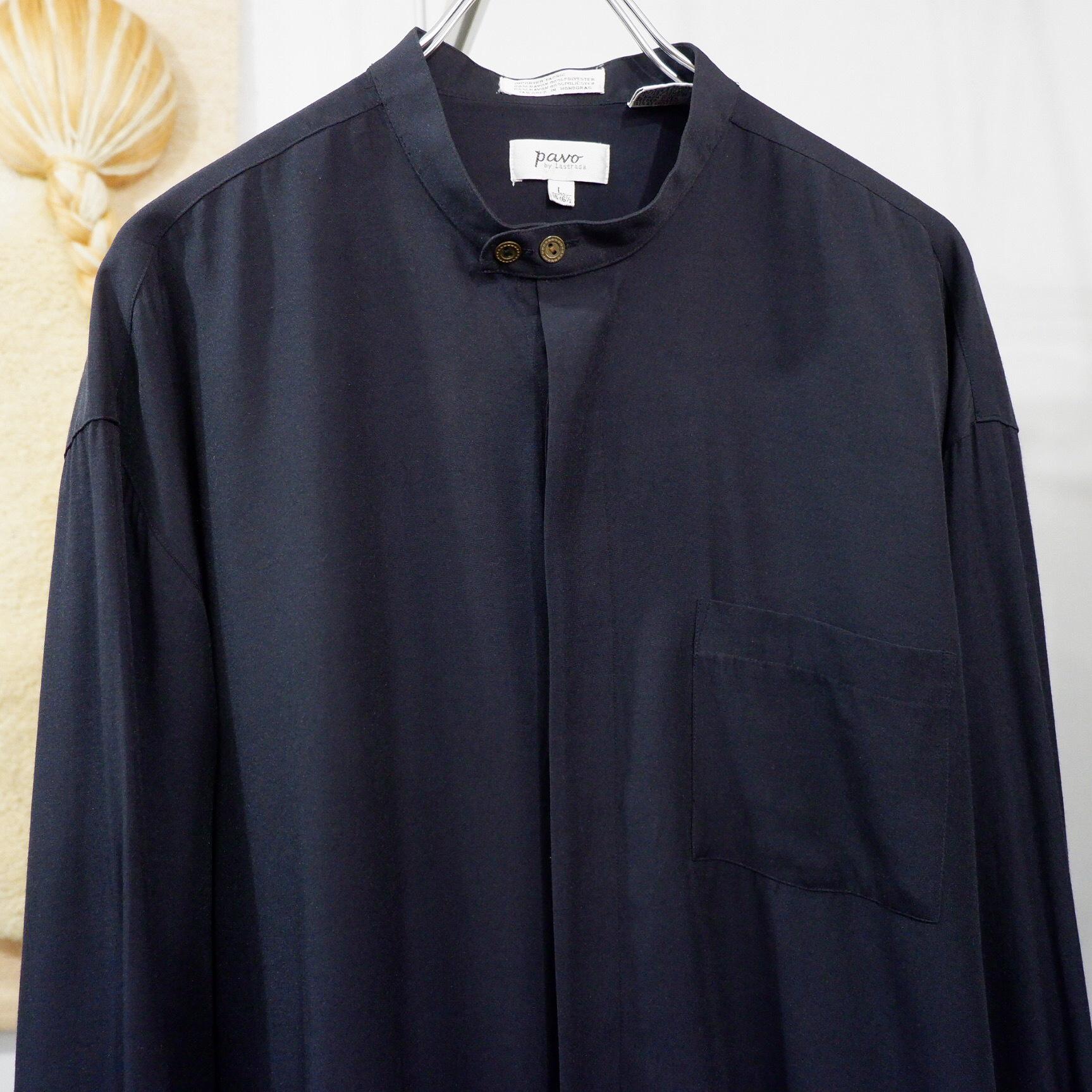 アメリカ古着 ブラック レーヨン バンドカラー シャツ