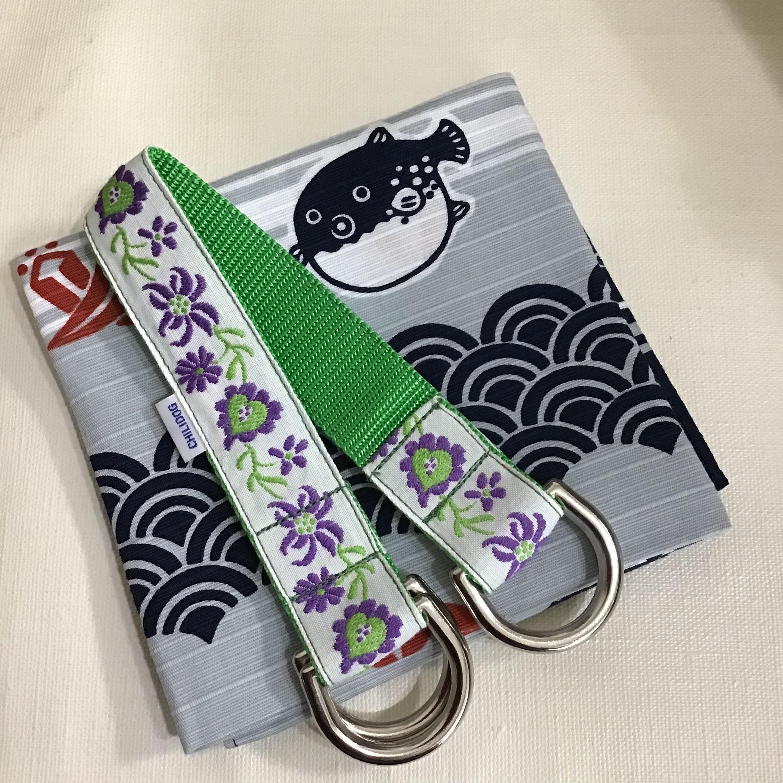 Sリードと巾着ハンドル 紫の花とハート RS01