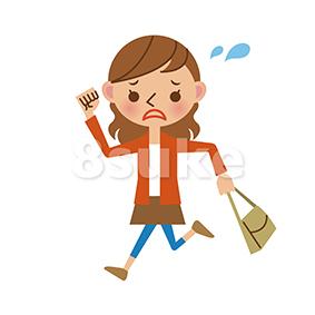 イラスト素材:慌てた様子で走る若い女性(ベクター・JPG)