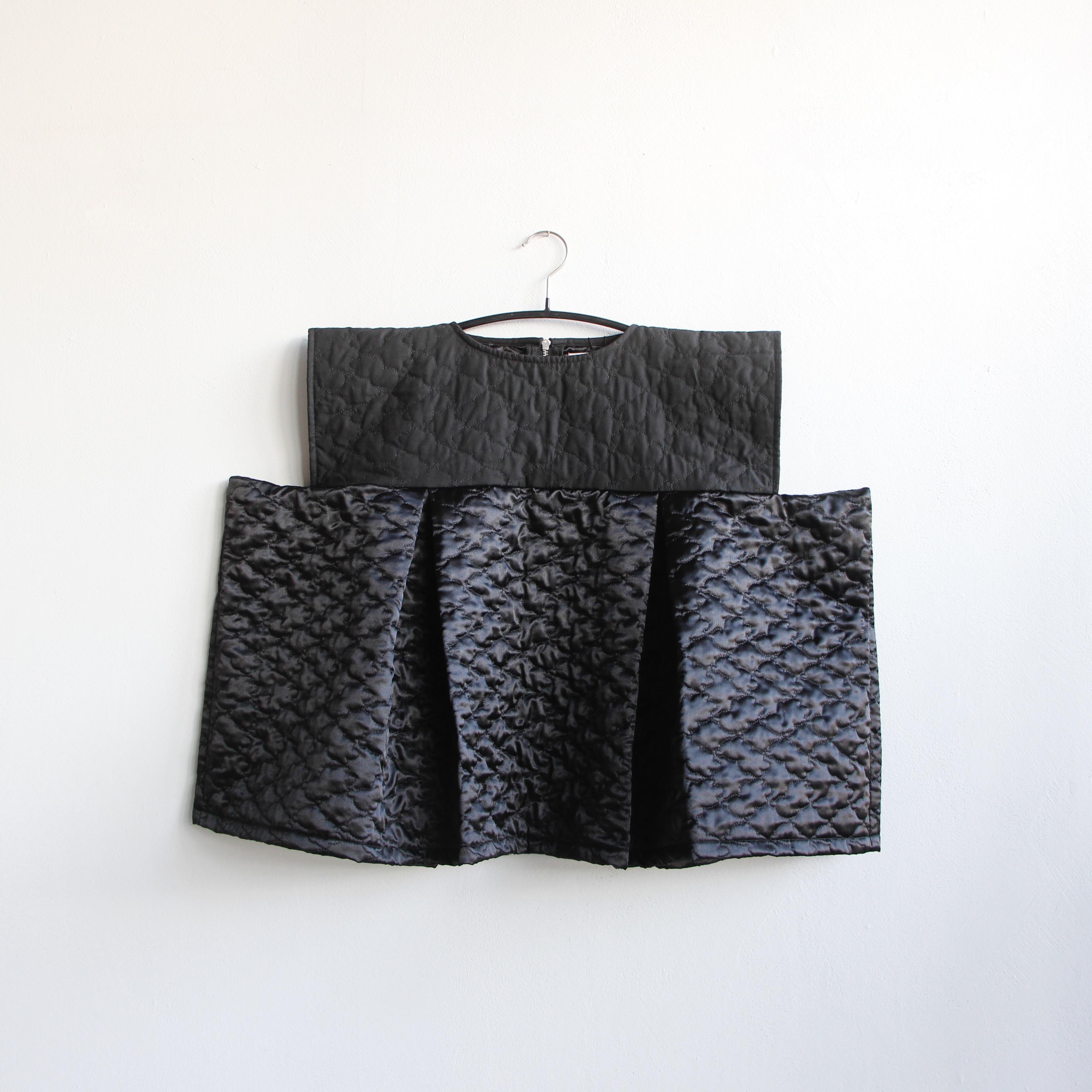 《frankygrow 2020AW》BEAR QUILTING SQUARE DRESS / black × black / W2