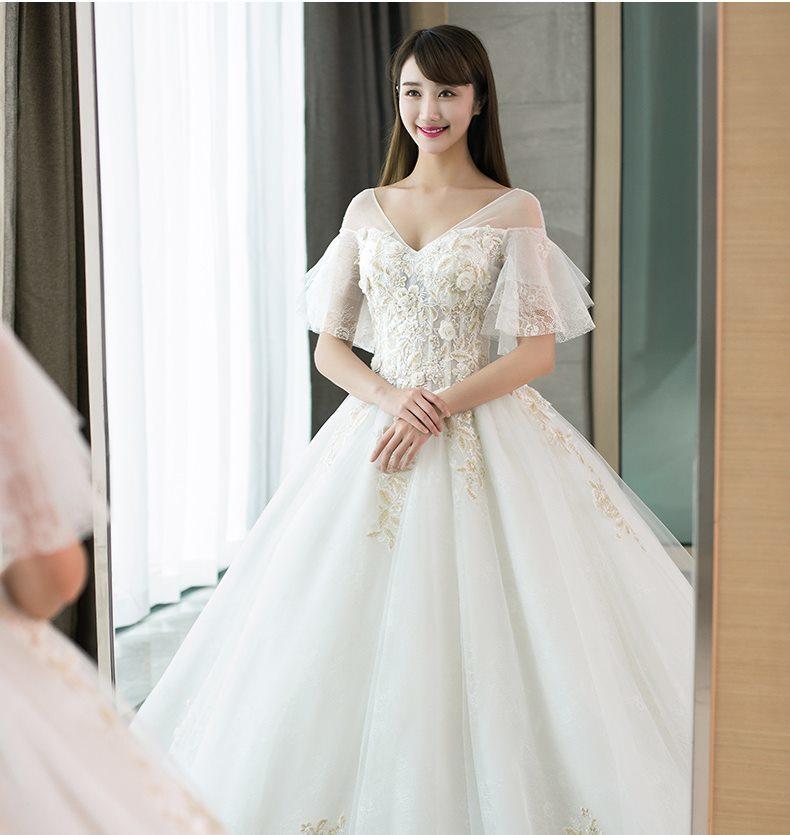 4e3d378cf7108 (twdgdrsbig-x0009) Vネック 刺繍 Aライン 半袖 フリル ウェディングドレス 白 二次会 花嫁 ウェディングドレス 大きいサイズ  ウェディングドレス 袖あり