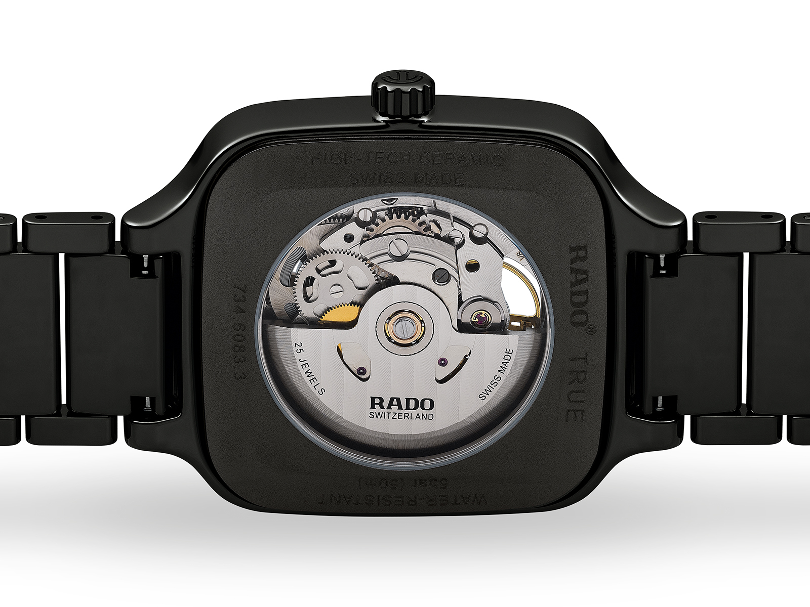 【RADO ラドー】True Square Automatic Open Heart トゥルースクエア オープンハート(ブラック)/正規輸入品