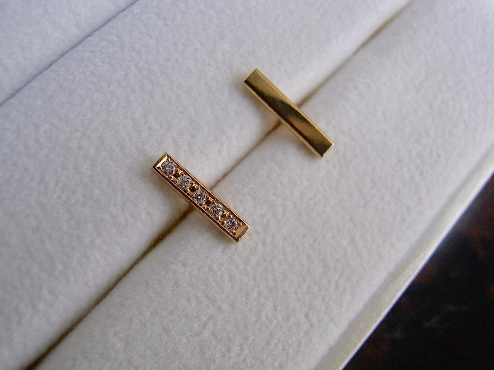 Diamond Gauge - Gold Barセットピアス(ハーフ1cm)