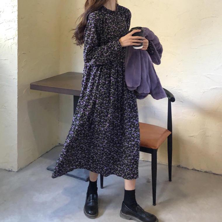 【送料無料】 レトロワンピ♡ フェミニン ガーリー 小花柄 キャンディースリーブ フレア ロング ワンピース