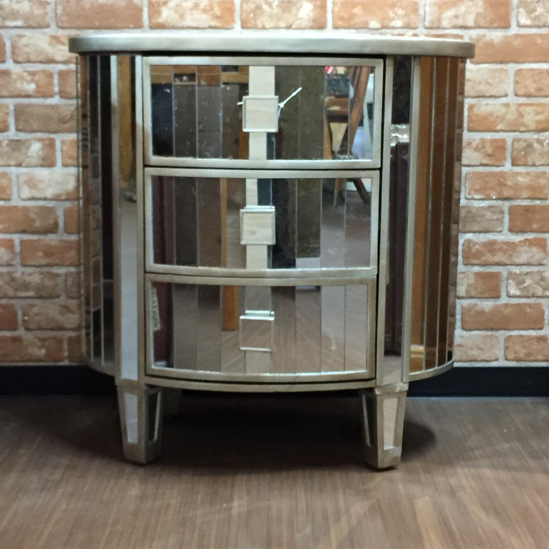 品番0027 楕円型 ミラードレッサー サイドテーブル 鏡面 ヴィンテージ 家具 011