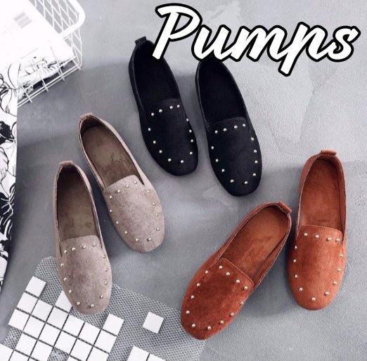 パンプス スタッズ レディース シューズ 女性 楽チン ラウンドトゥ フラットシューズ 靴 くつ お洒落 リベット PU レトロ