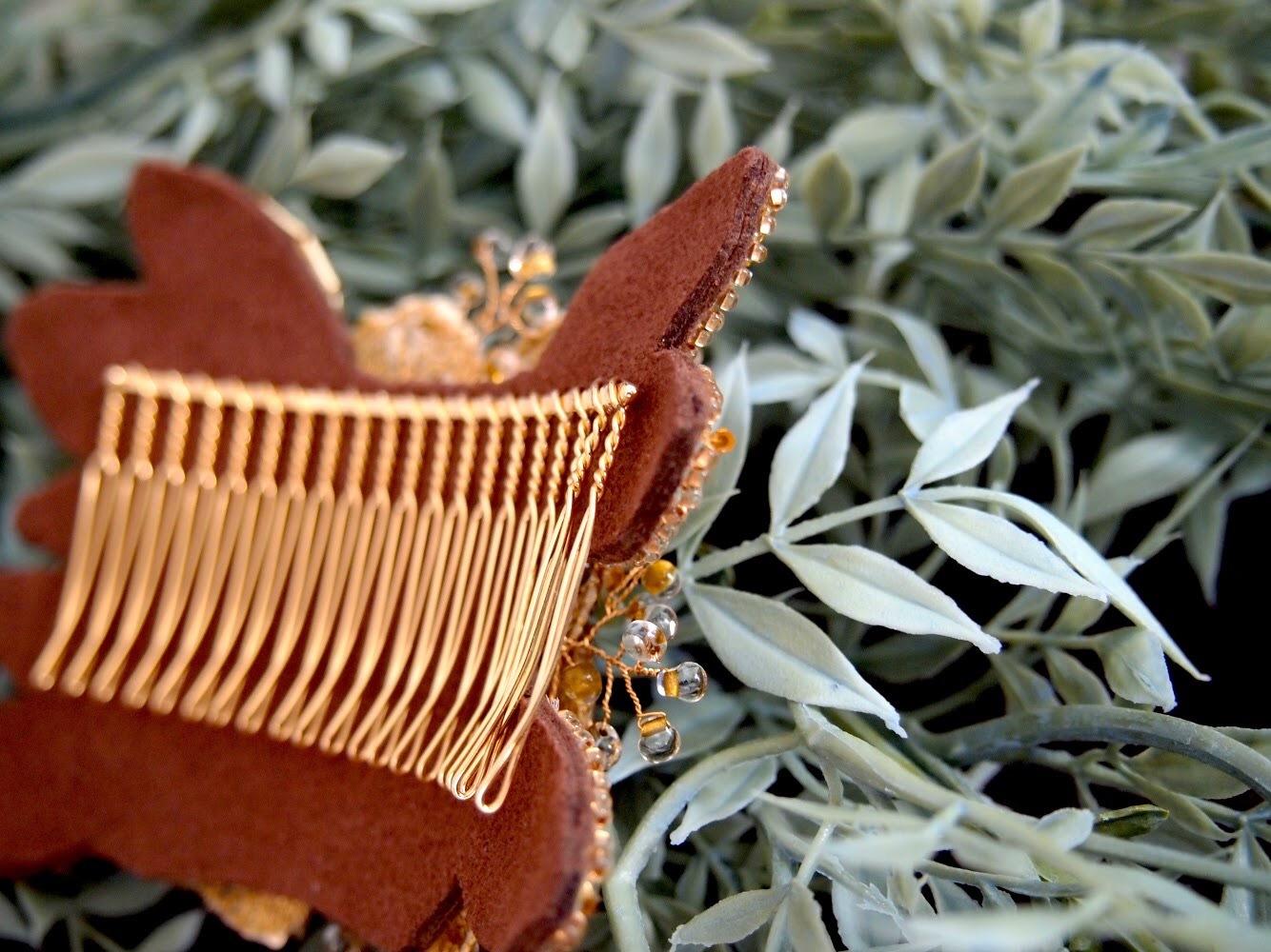 パンジーモチーフのゴールドフラワーヘッドドレス【一点物】