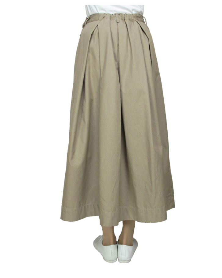 T/C chino long tuck-skirt Lot:35418 - 画像3