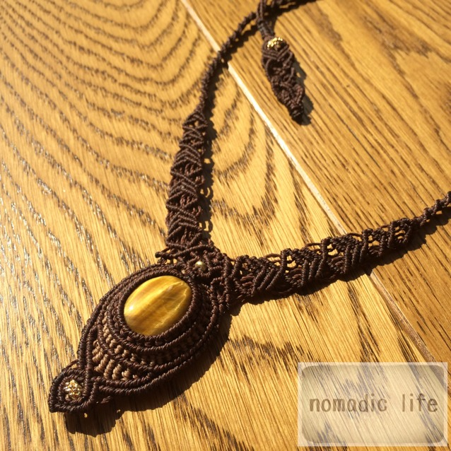 No.21//Tiger-eye necklace from India【made-to-order】