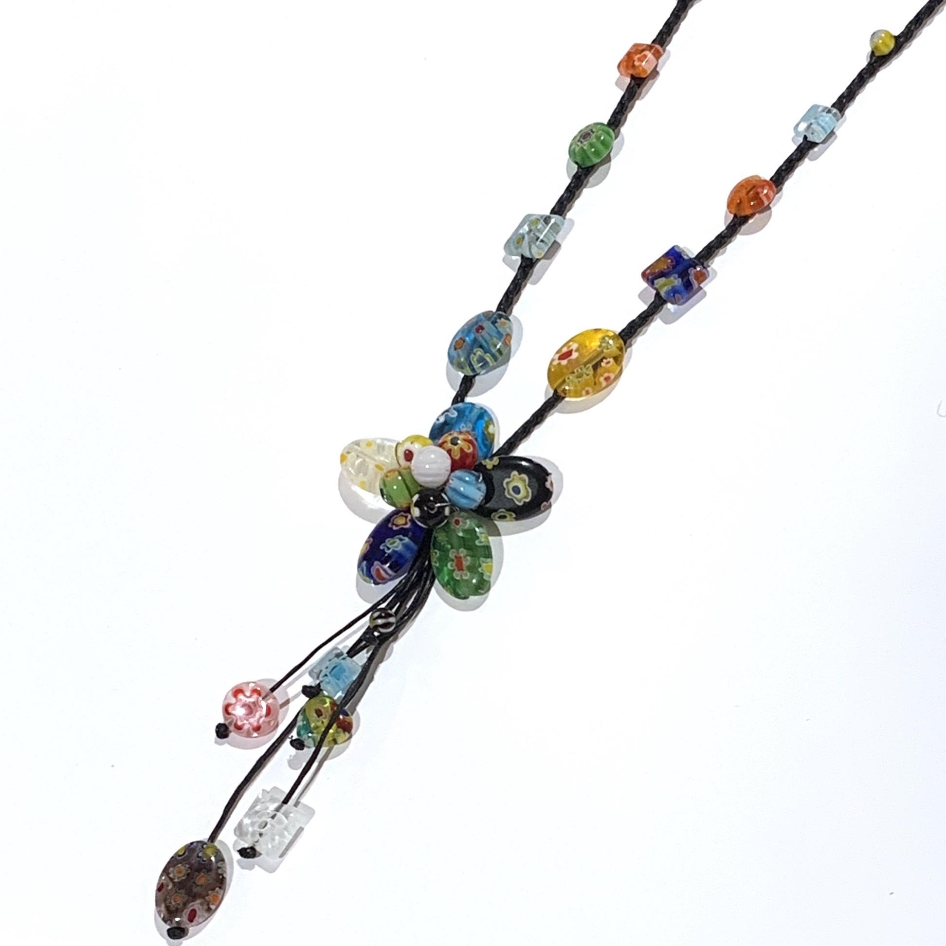 acc-032 ベネチアングラスの花ネックレス