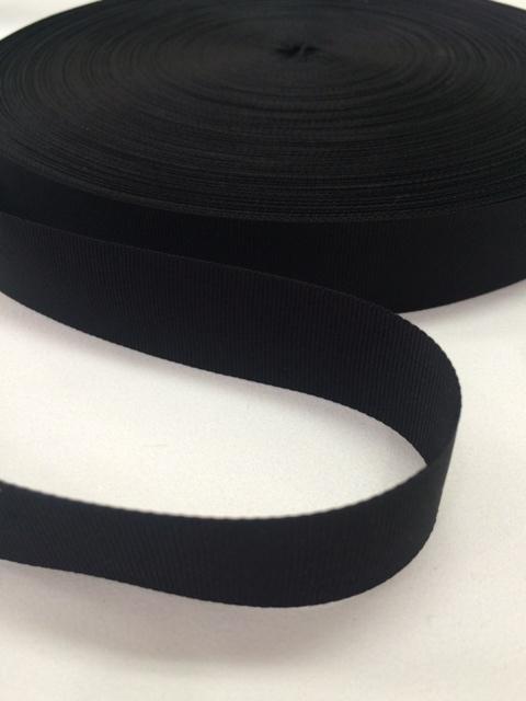 ナイロン 平織(グログラン)25mm幅 黒 5m