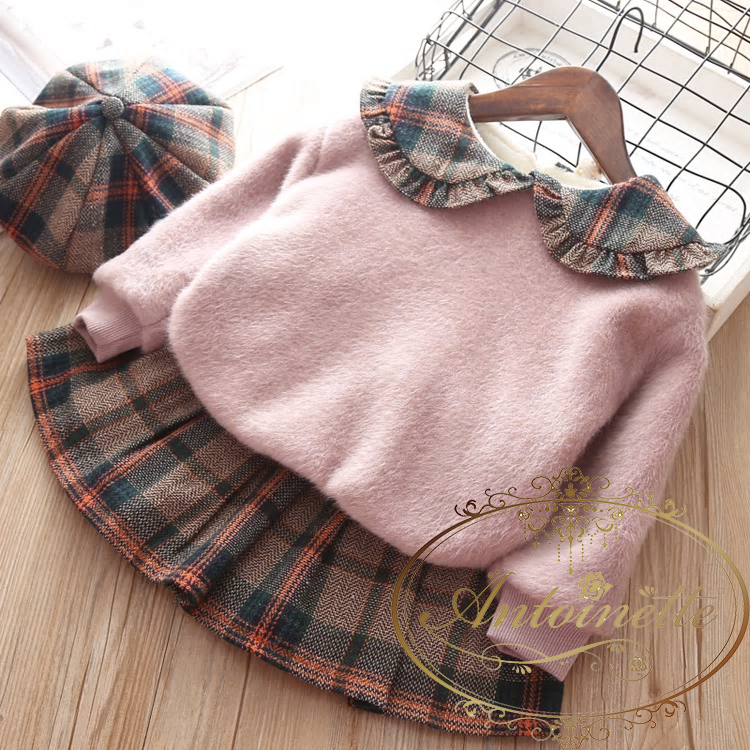 Baby Winter Autumn Girl Garment Plaid Plush Long Sleeve Sweater Pullover Skirt Two Piece Children Clothing Suit Outwear Sui