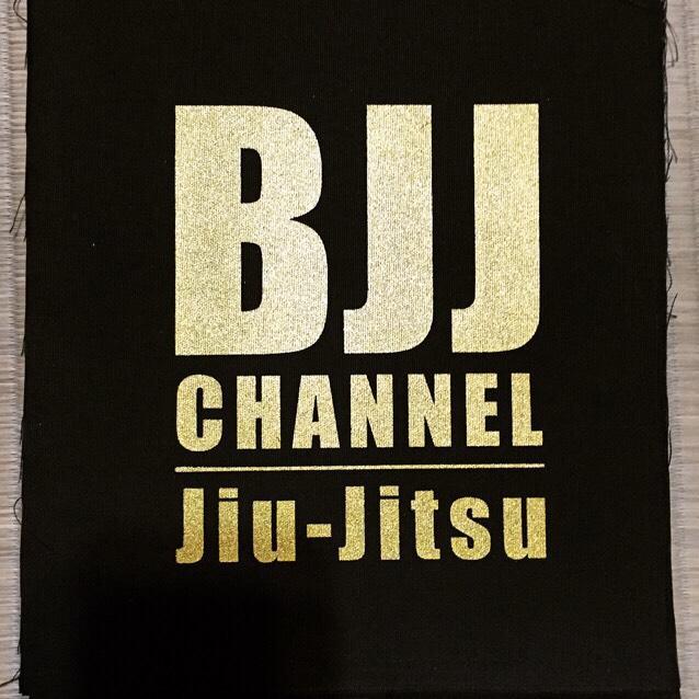 送料無料!!! BJJチャンネルパッチ カラー黒地に金