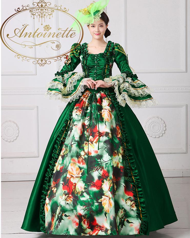 袖フリル 緑 フランス Aライン 貴族 衣装 アントワネット ハロウィン 華やか お姫様 中世貴族 ミュージカル 舞台衣装