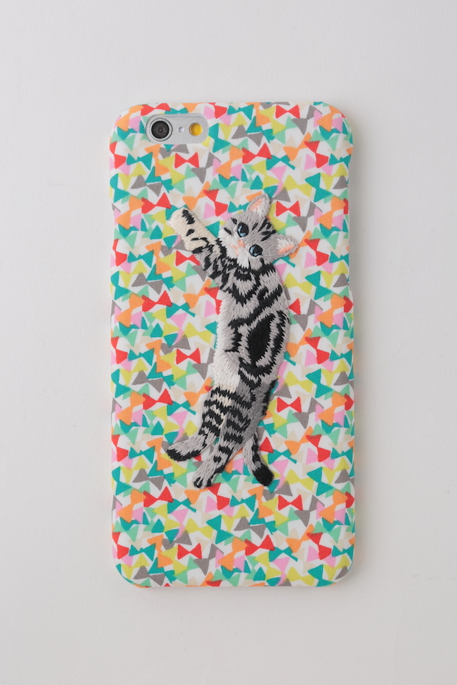 【iPhone7専用】刺繍iPhoneケース ストライプキャット【リバティREDリボン柄】