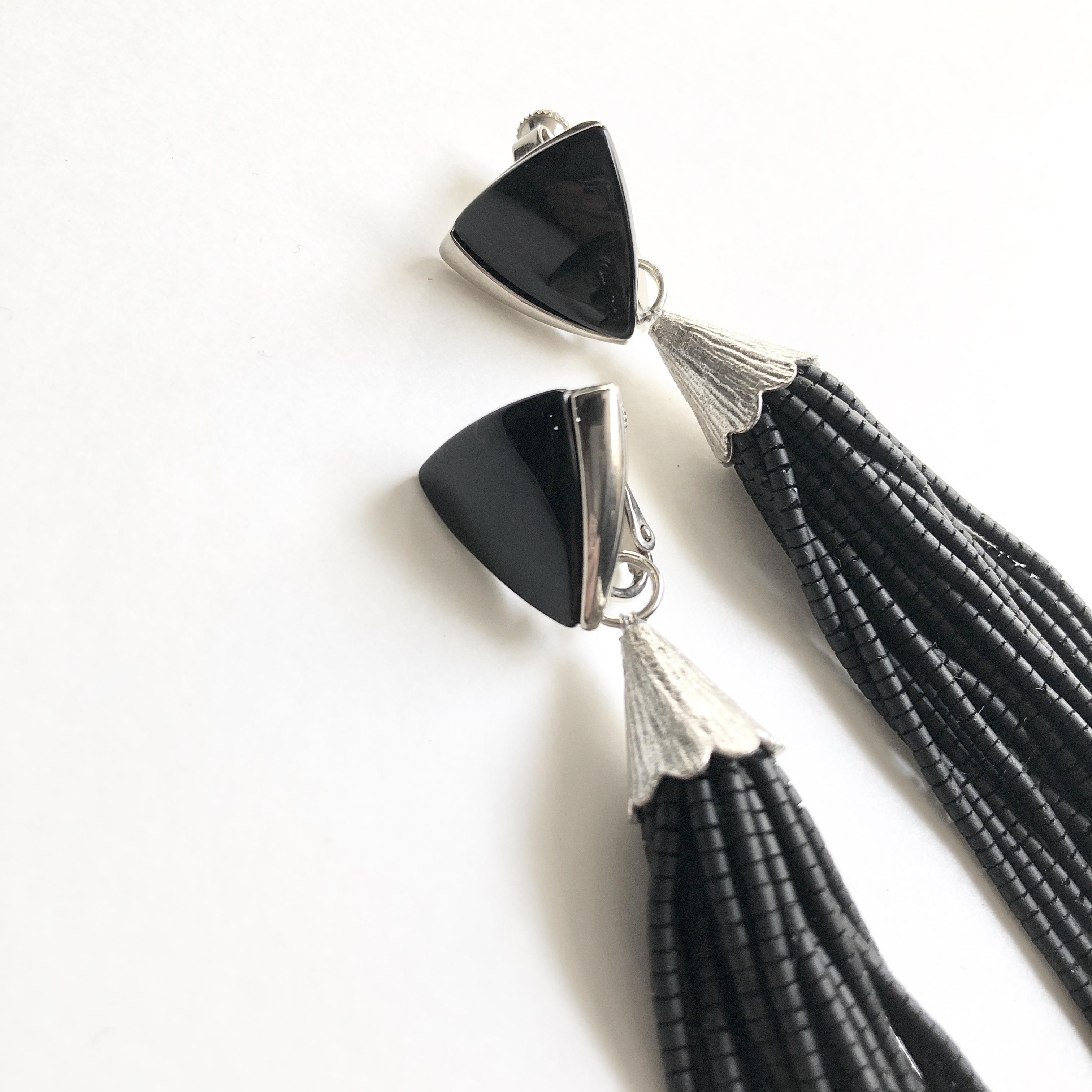 Triangle tassel earrings*
