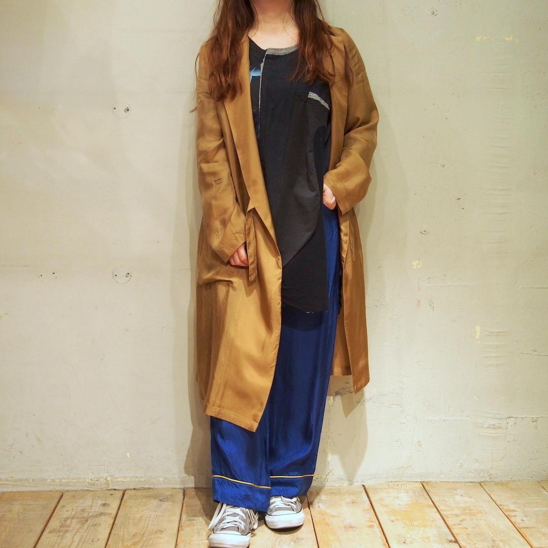 【hippiness】cupro coat(152/gold)/【ヒッピネス】キュプラ コート(ゴールド)