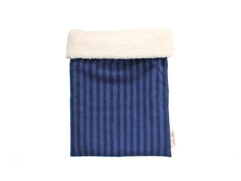 ハリネズミ用寝袋 M(冬用) フランネル×ボアフリース ストライプ ブルー