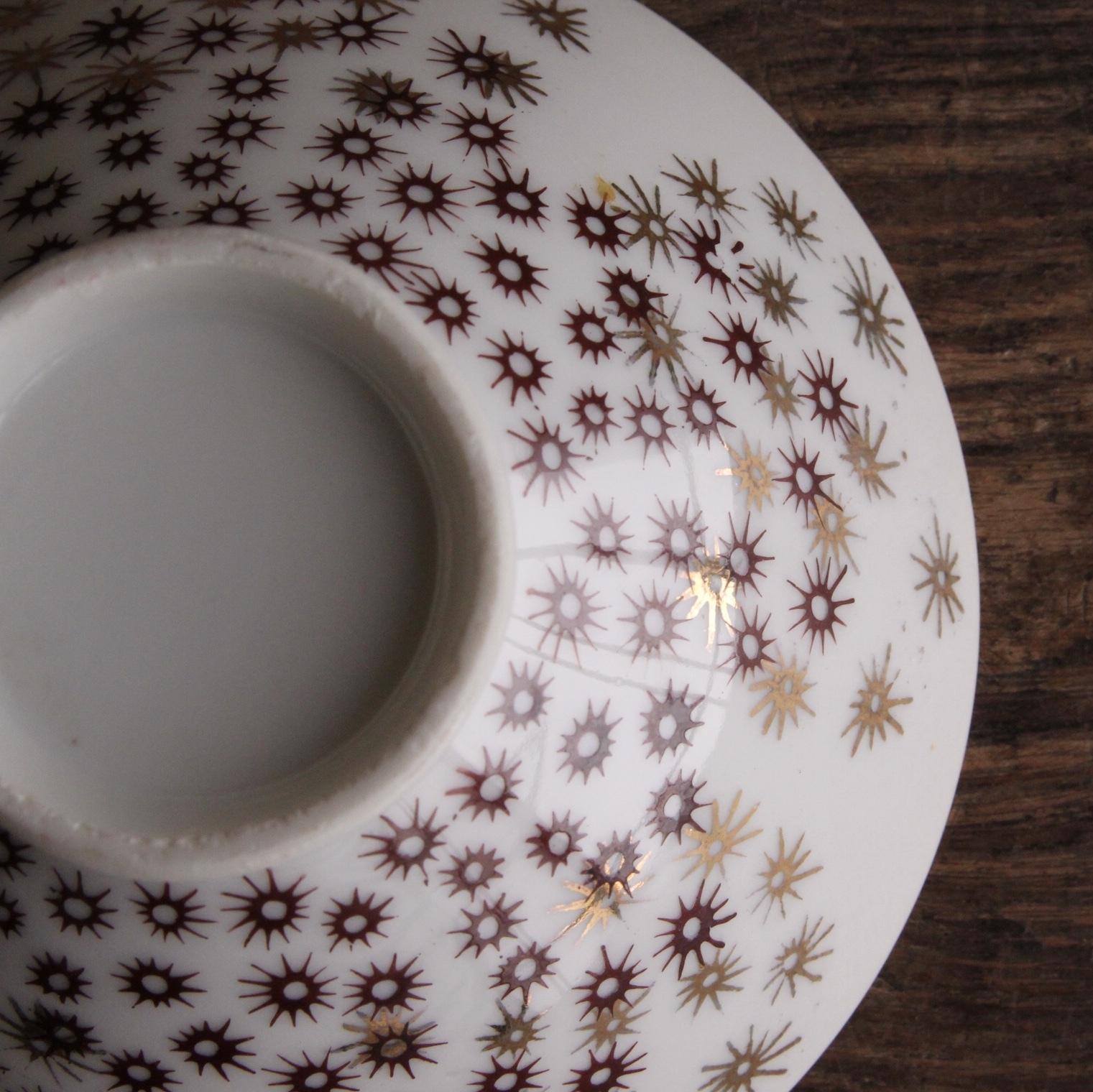 昭和レトロ キラキラ星柄茶碗 在庫3客