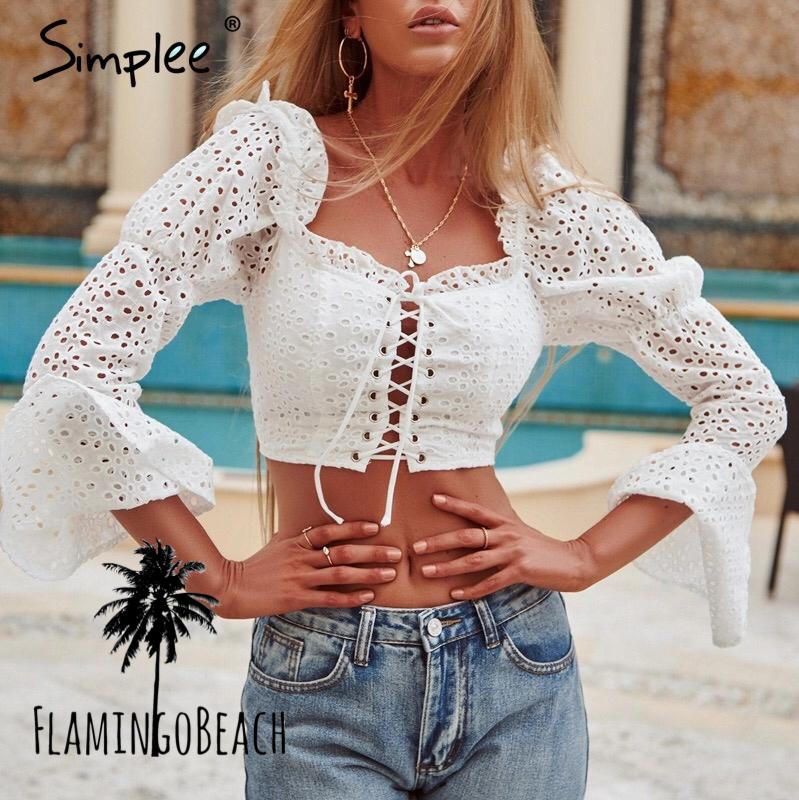 【FlamingoBeach】white shirring tops トップス
