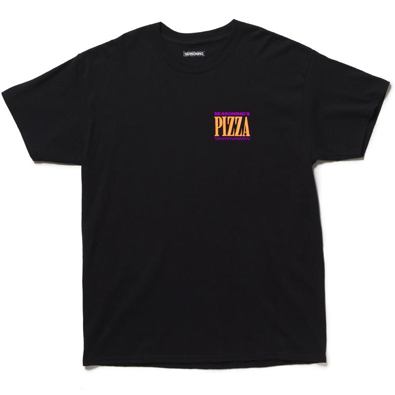 """SEASONING × GIONO S/S TEE """"PIZZA"""" - BLACK"""