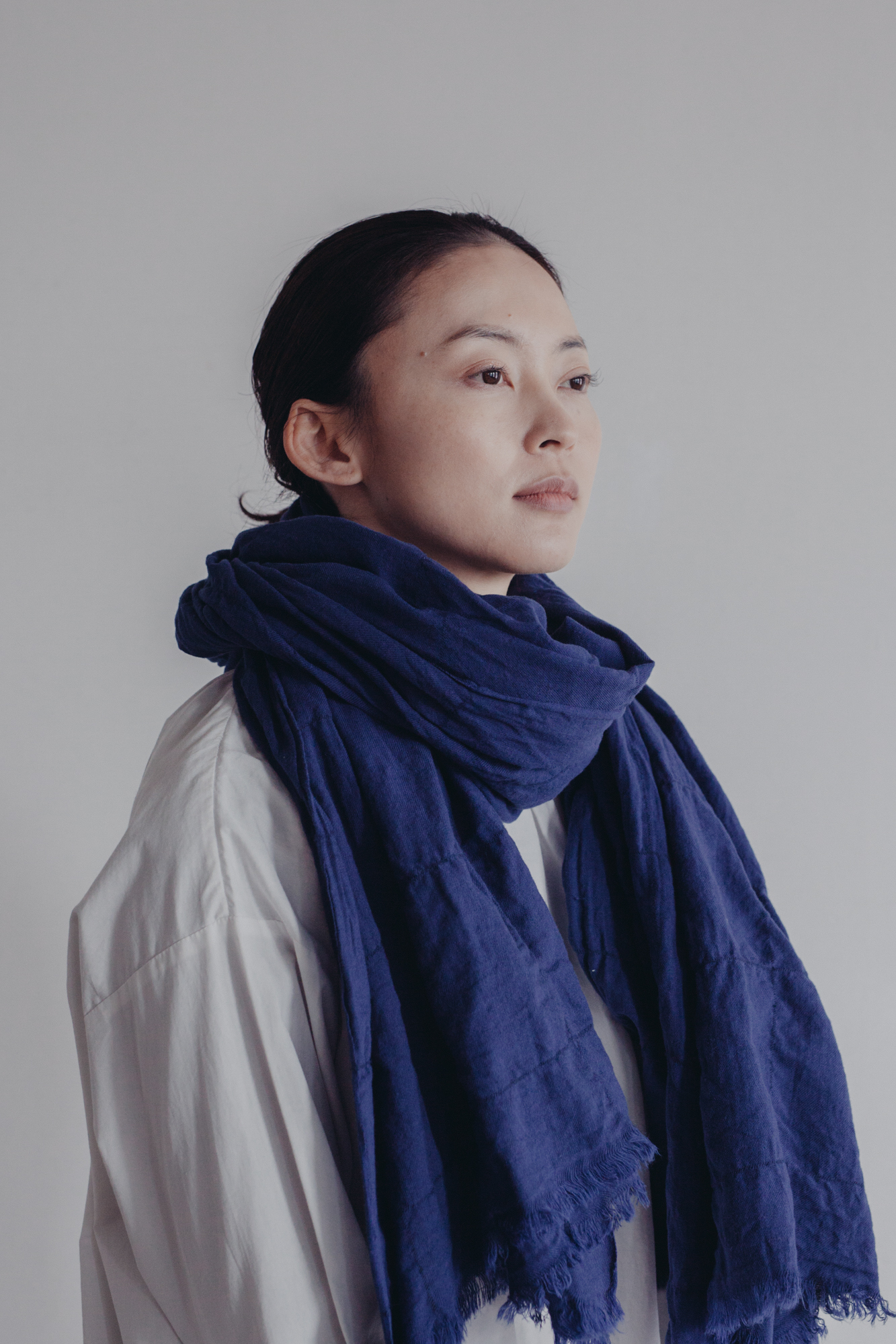 0136-3  cotton/wool muji windowpen stole / blue