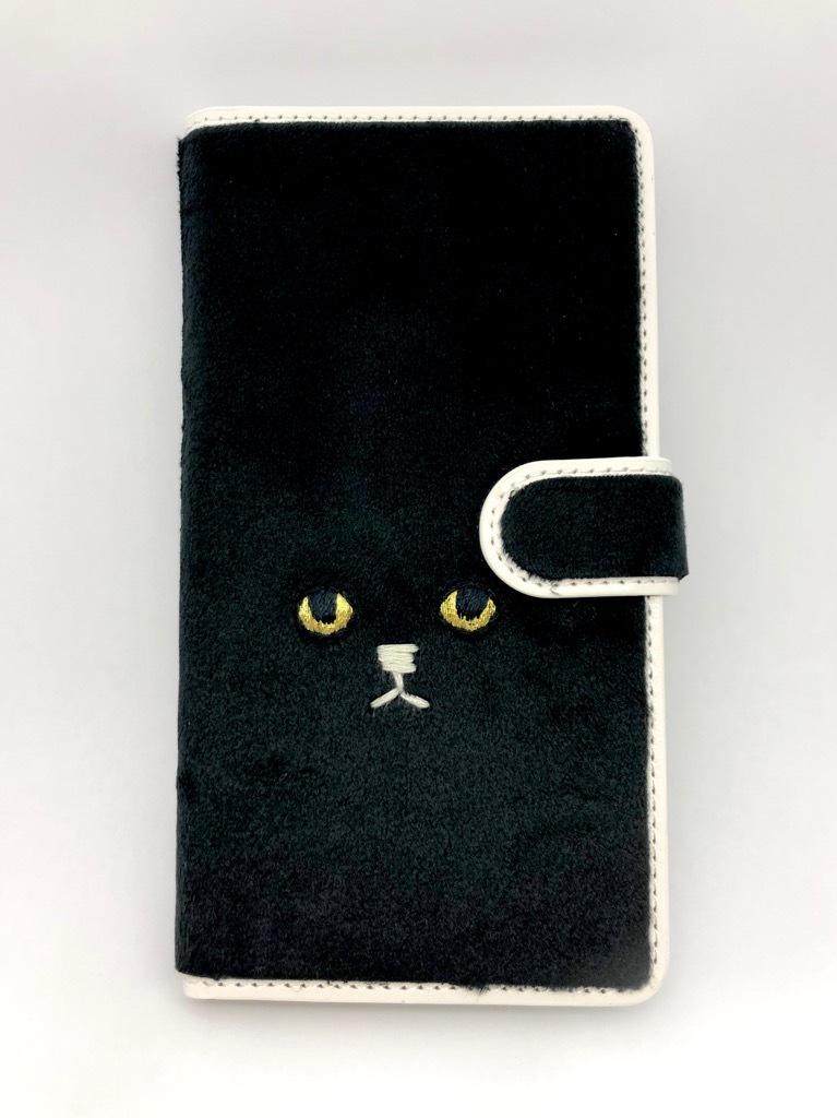 【Lサイズ 7ポケット】ネコ手帳マルチスマホケース【ブラック】