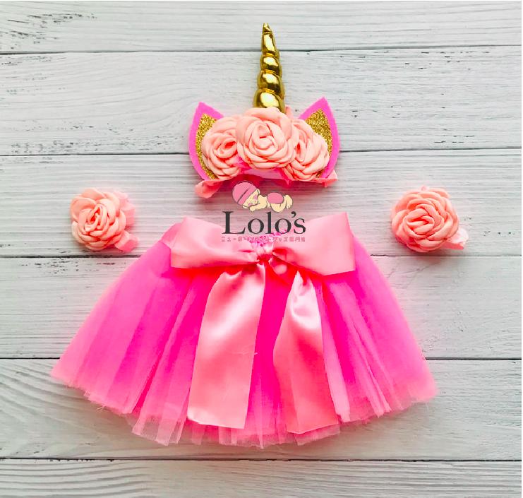 夢のユニコーン♡0-2ヶ月赤ちゃん用衣装3点セット/PINK