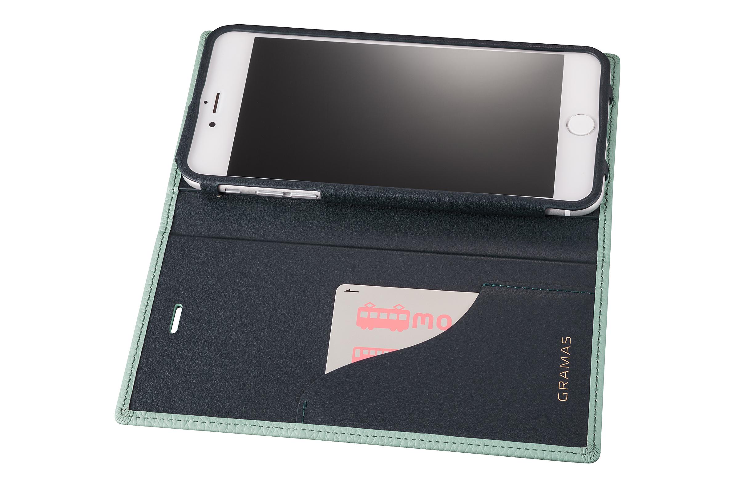 GRAMAS Shrunken-calf Full Leather Case for iPhone 7 Plus(Blue) シュランケンカーフ 手帳型フルレザーケース - 画像4