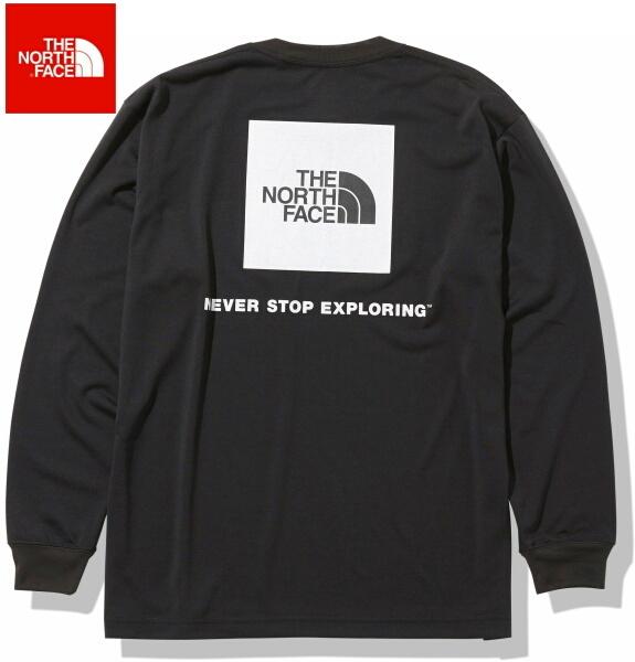 ノースフェイス ロンT 長袖 Tシャツ メンズ THE NORTH FACE ロングスリーブバックスクエアロゴティー NT82035 ブラック