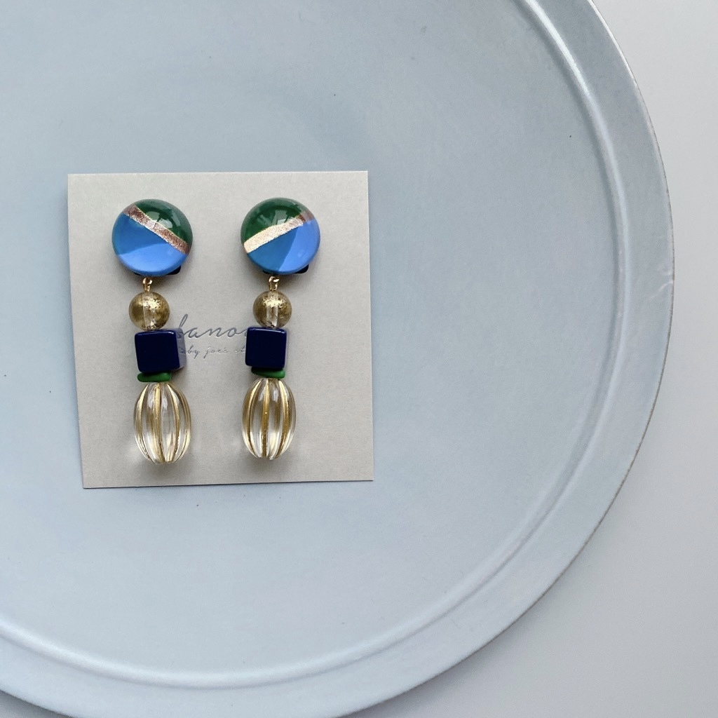 """ Earrings NO.danoan-120″ レトロペイントとヴィンテージビーズ"