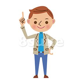 イラスト素材:指差しをする私服姿の男性(ベクター・JPG)