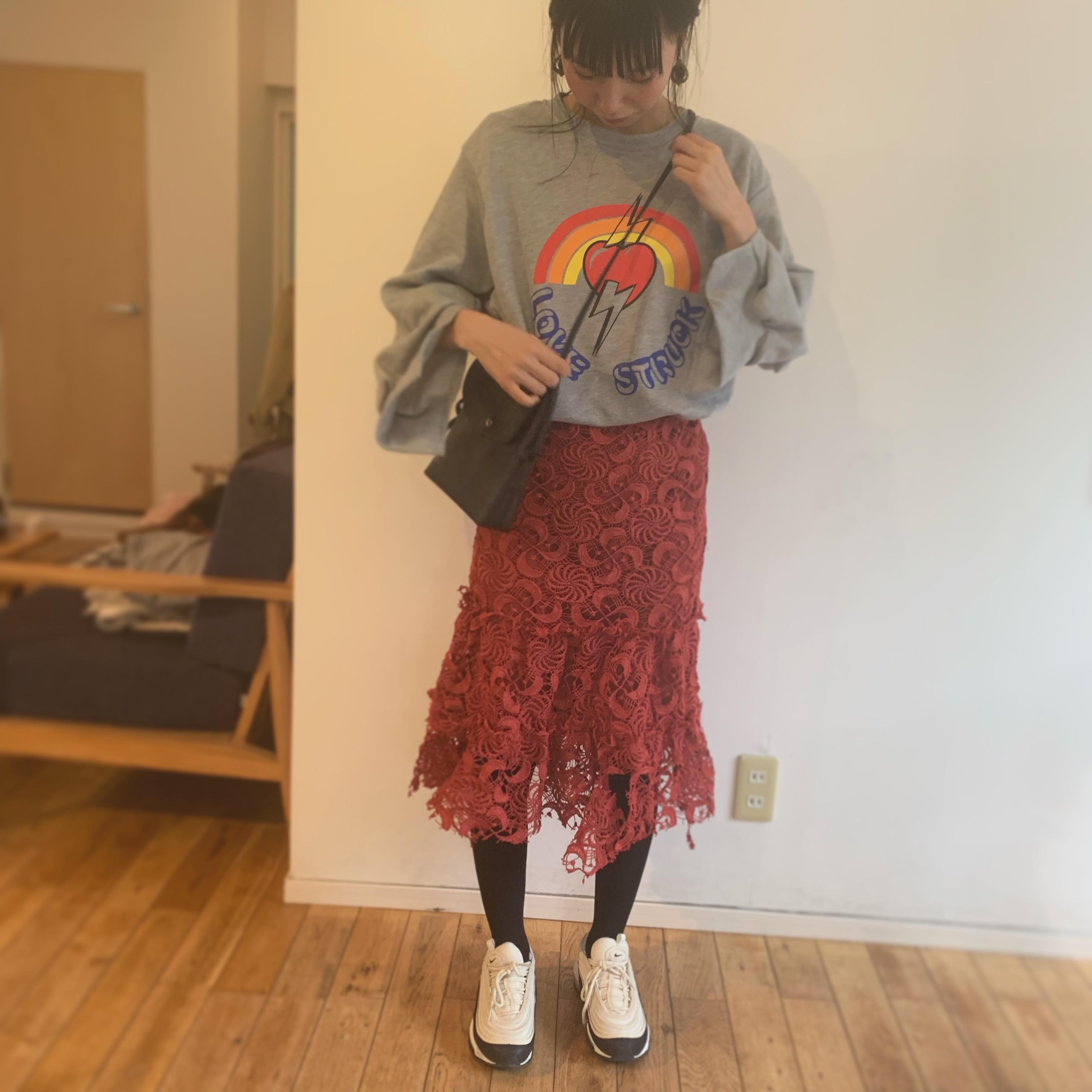ピンク太レーススカート
