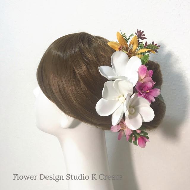 プルメリアとオレンジのオーキットのヘッドドレス 13点セット ウェディング 髪飾り アートフラワー 南の島 結婚式
