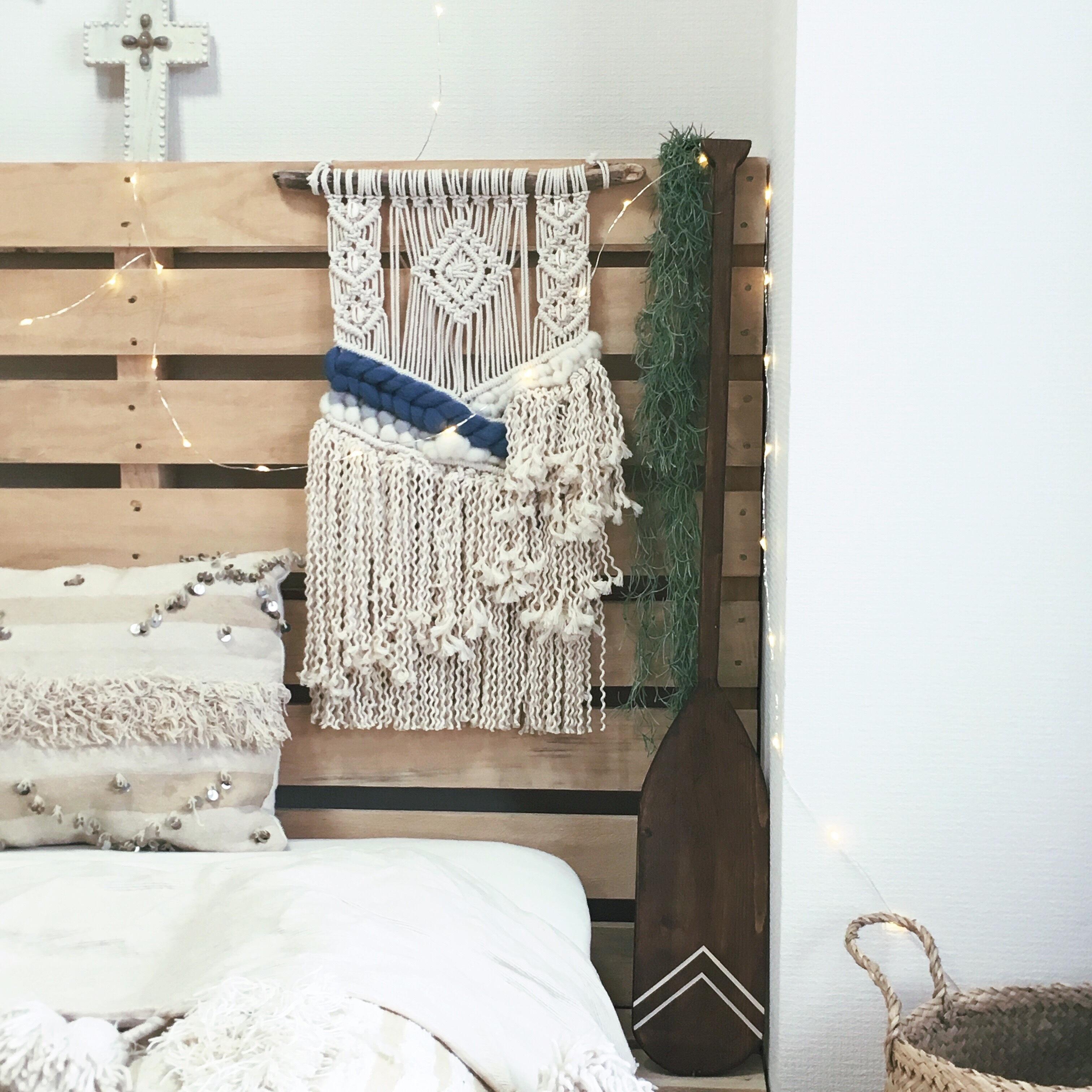 【送料無料】Macrame tapestry - weaving × shell -