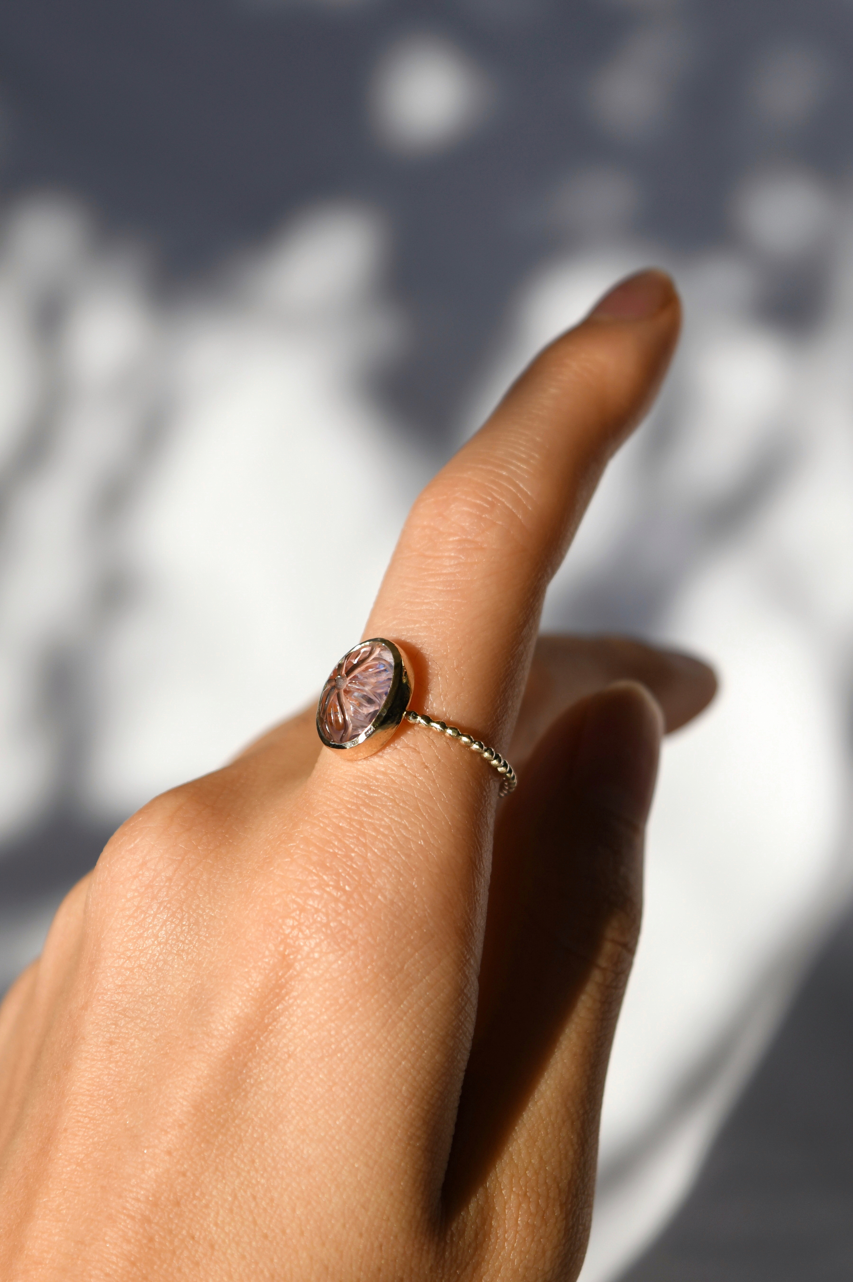K10 Carving Pink Amethyst Ring 10金カービングピンクアメシストリング