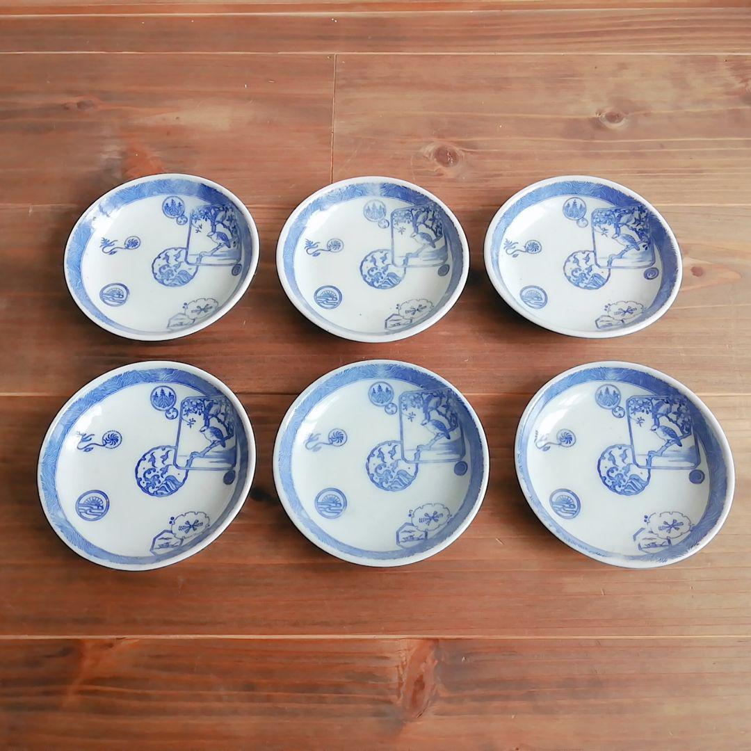 印判小皿 桜につがいの鳥 6枚セット【大正頃】