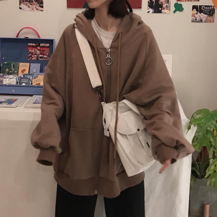 【送料無料 】だぼっと感が 可愛い ♡ カジュアル メンズライク オーバーサイズ ボリューム袖 ジップ パーカー 羽織り トップス