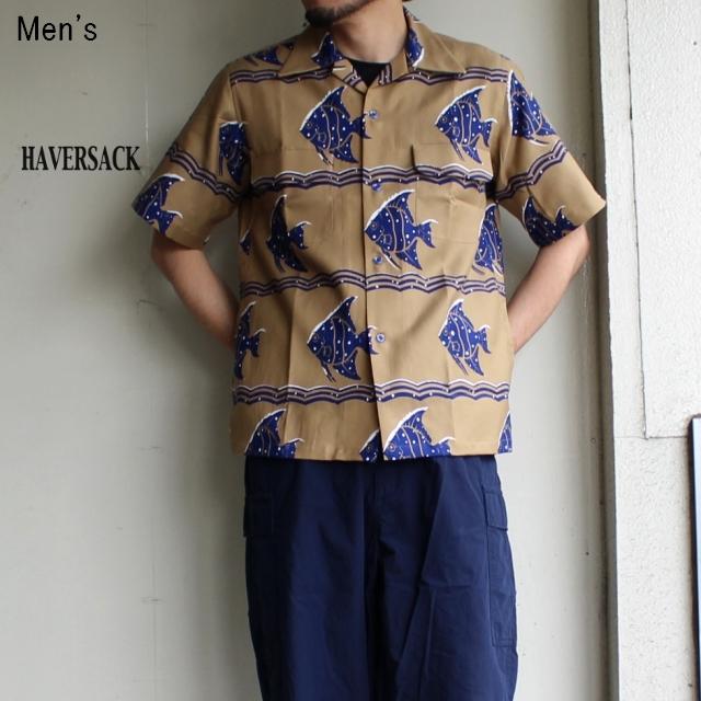 HAVERSACK フィッシュ柄オープンカラーシャツ (BEIGE)