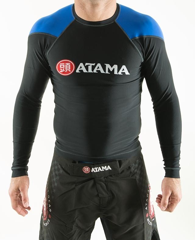 ATAMA ラッシュガード長袖 黒ベース/青