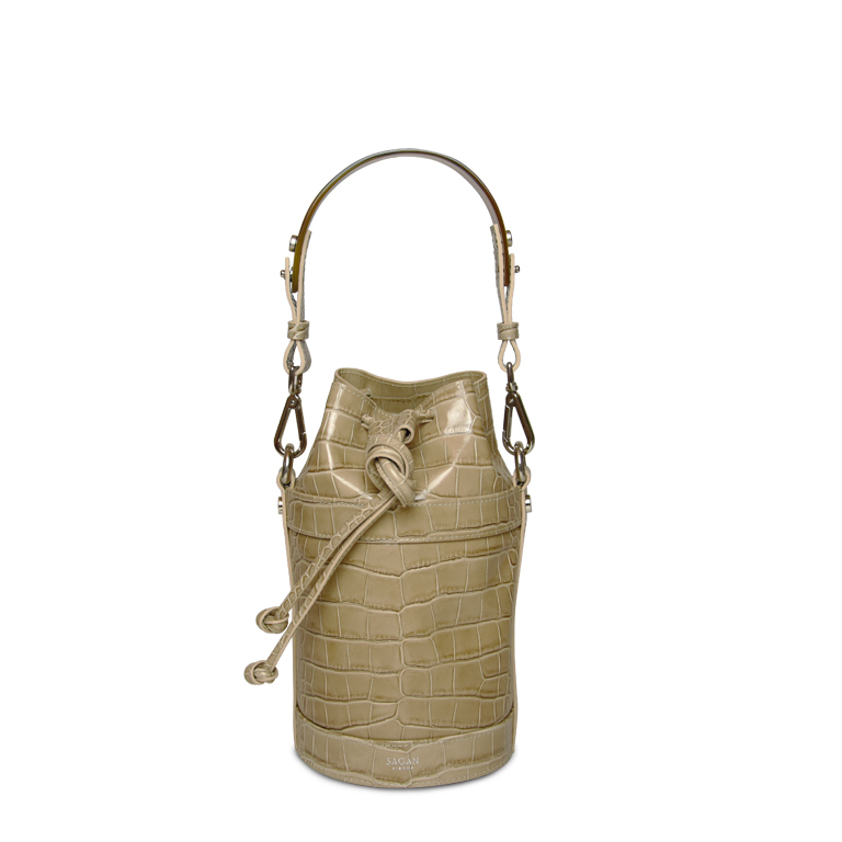 BUCKET BAG_NANO_CROCO BEIGE_with HORN