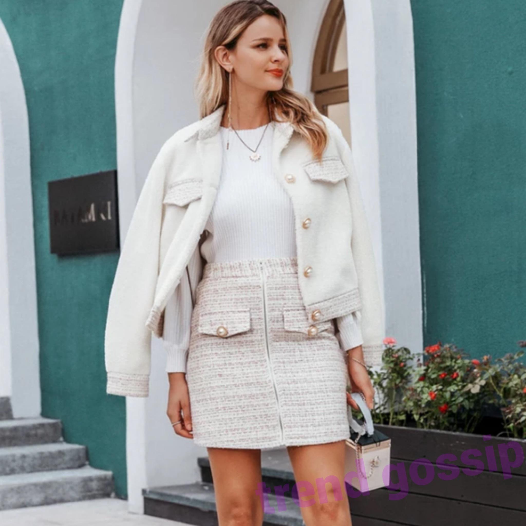 パールボタンホワイトボアジャケット&ツイードスカートセットアップ/S.M.L/2019AW