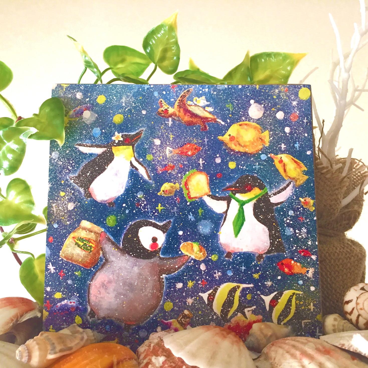 絵画 インテリア アートパネル 雑貨 壁掛け 置物 おしゃれ イラスト ペンギン 動物 ロココロ 画家 : 高井 りさ 作品 : 飛べない鳥は泳げる鳥