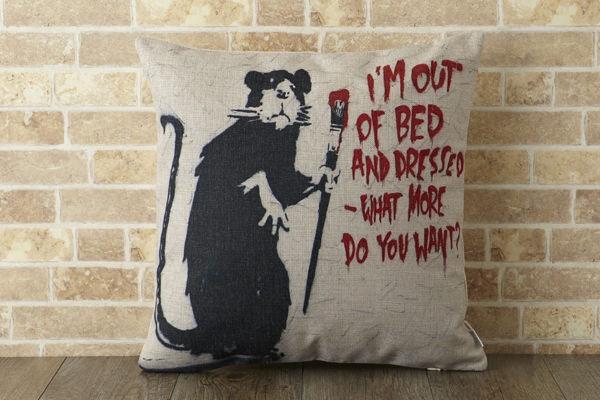 バンクシー Banksy クッションカバー ラットペイント