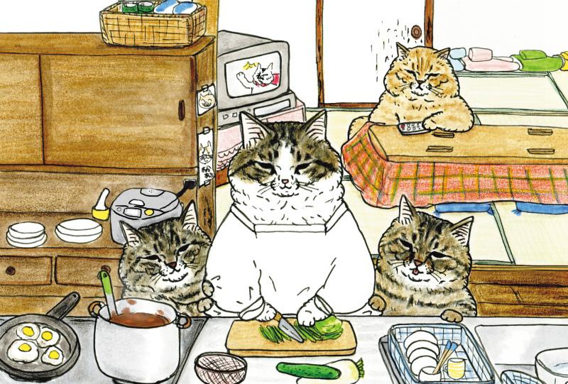 「世にも不思議な猫世界」チャリティーポストカード【あったか猫家族】
