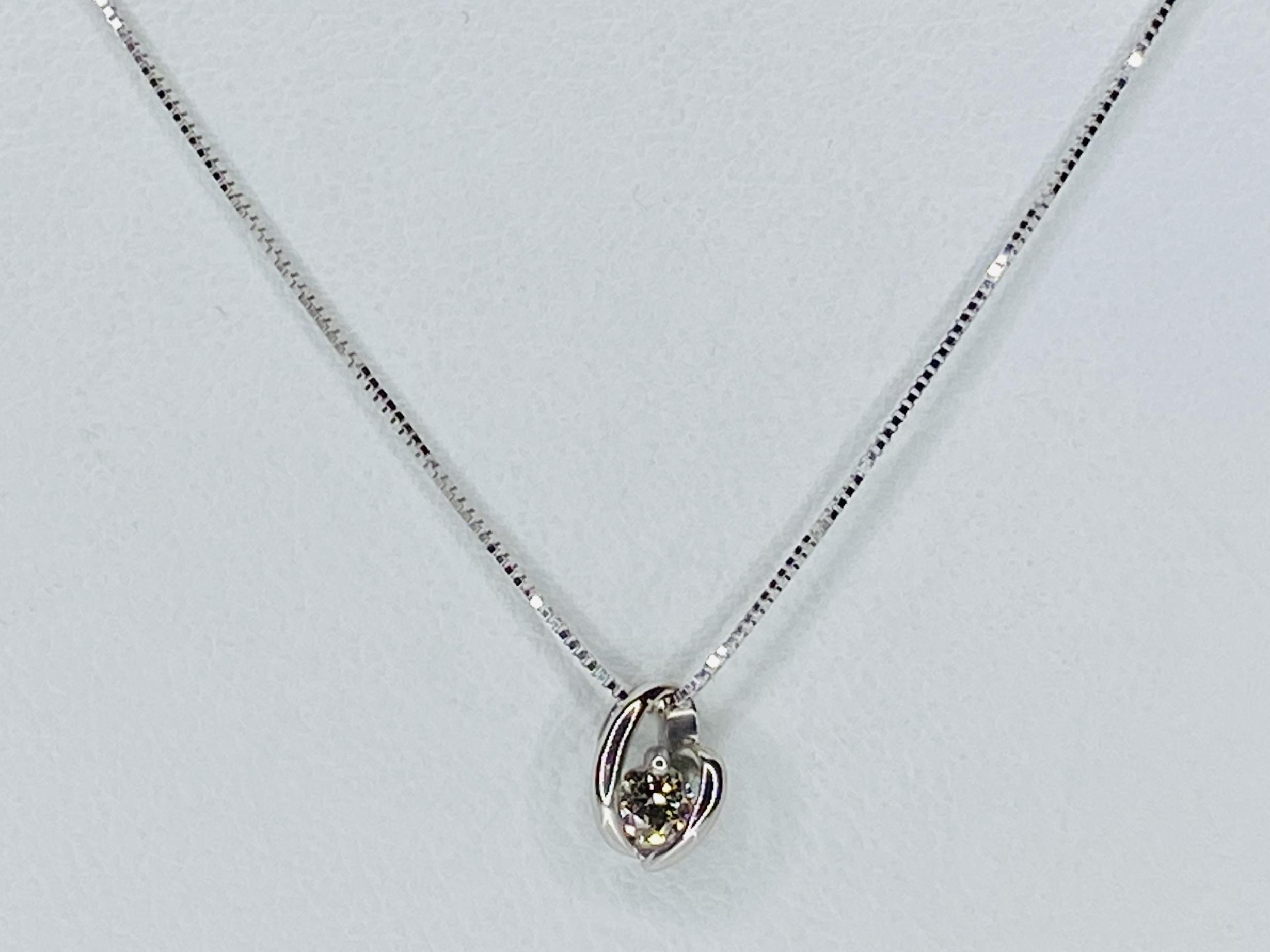 K18 WG 0.1ct ダイヤモンドネックレス ○