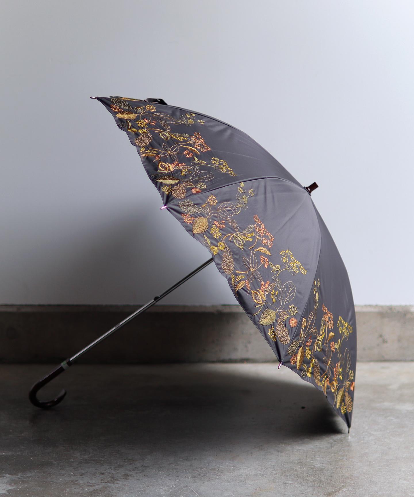 【窓辺の花 刺繍】晴雨兼用日傘 長傘タイプ(ELS49)