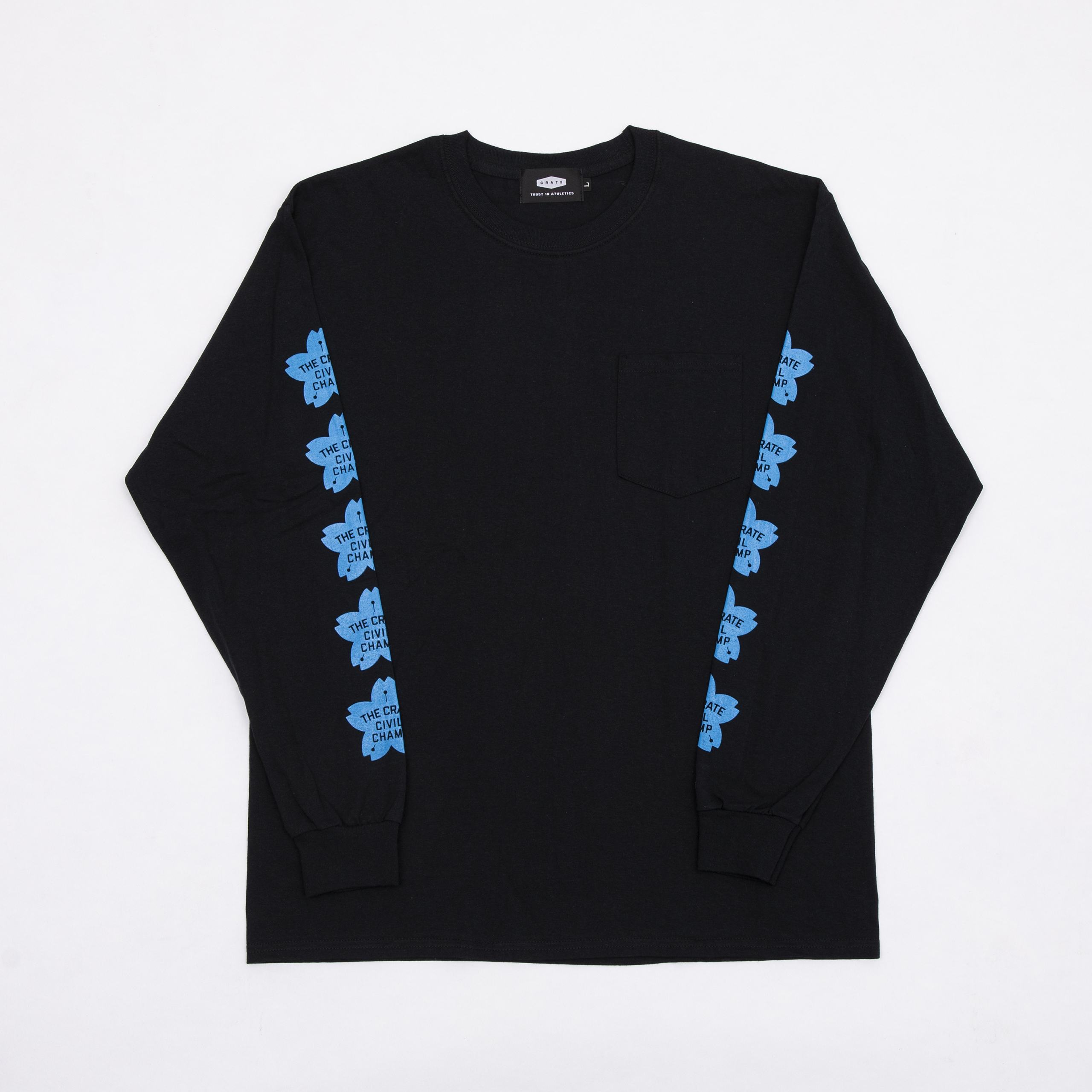 CHERRY BLOSSOMS POKET L/S T-SHIRTS BLACK